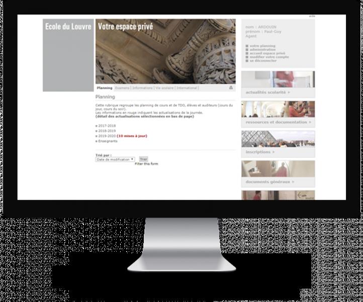 Site Internet of the Ecole du Louvre